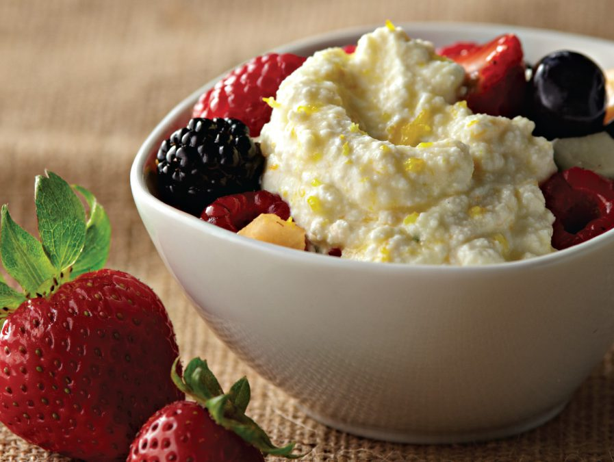 Fresh Fruit with Ricotta, Fresh Mint, and Honey