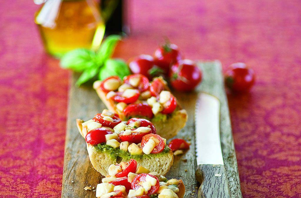 Grape Tomato, Pesto, and Mozzarella Bruschetta