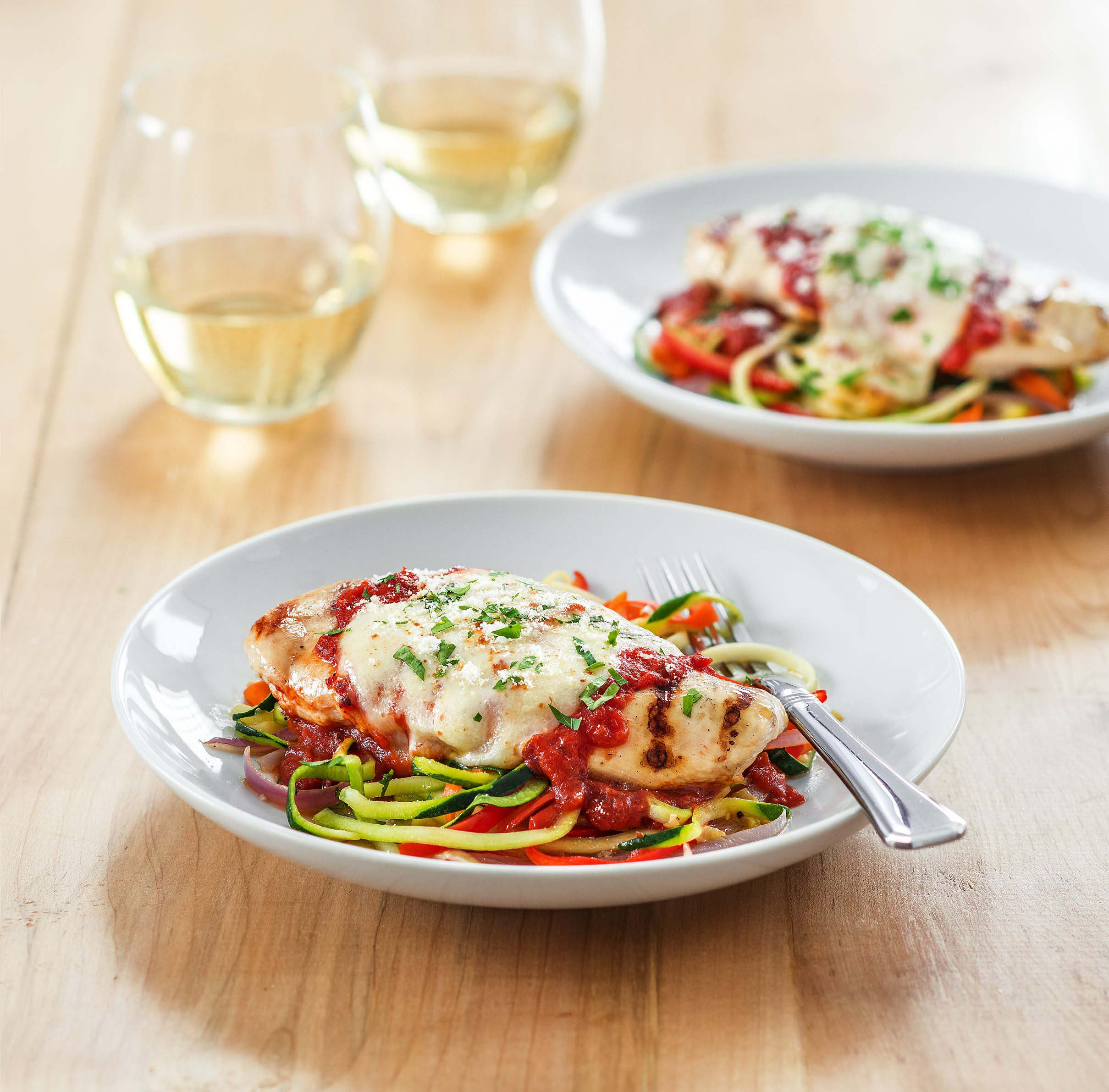 Grilled Chicken Parmesan With Zoodles Galbani Cheese Authentic Italian Cheese