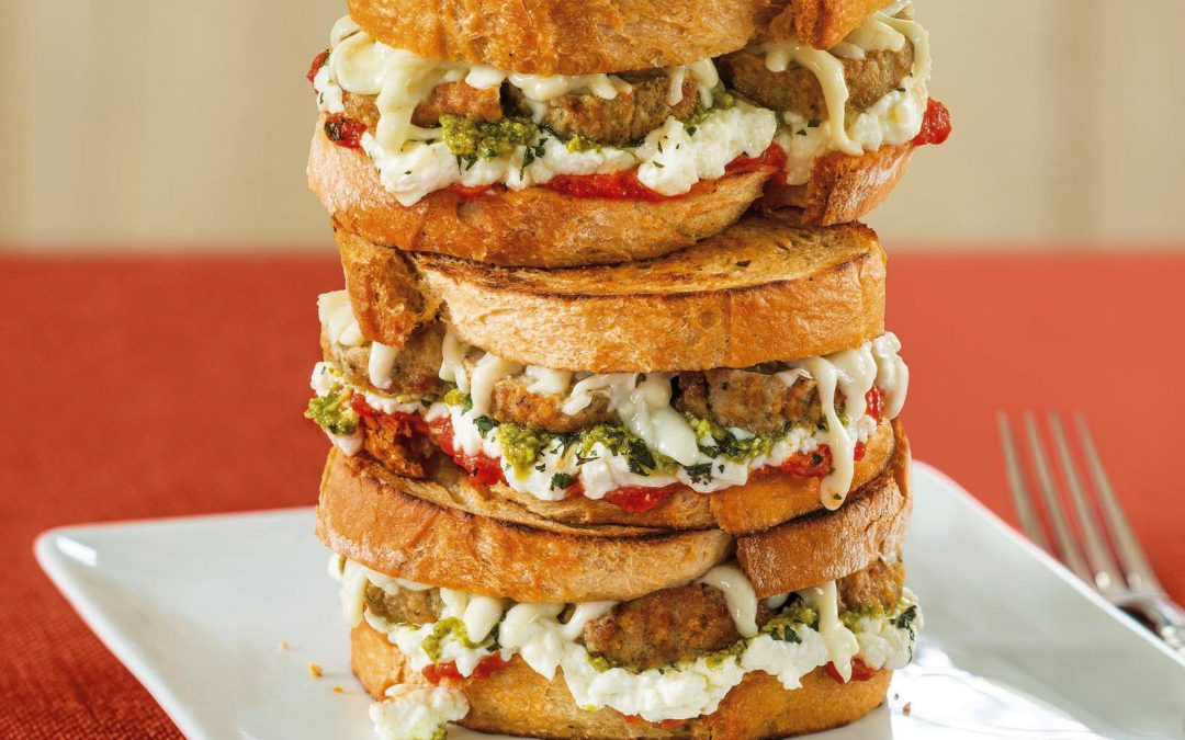 Mediterranean Meatball Grilled Cheese