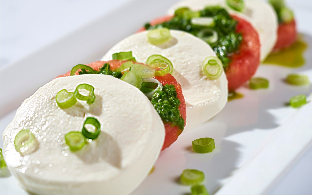Watermelon Caprese with Lemon Arugula Pesto