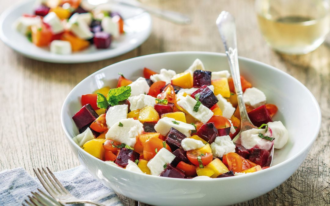 Peach and Beet Caprese