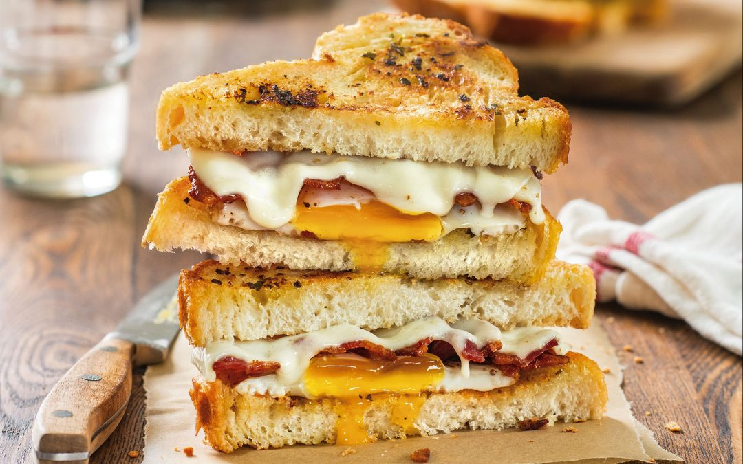 Herbed Butter Grilled Cheese with Fried Egg