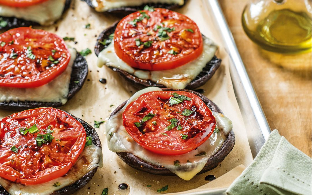 Portobello Caps with Roasted Tomato and Mozzarella