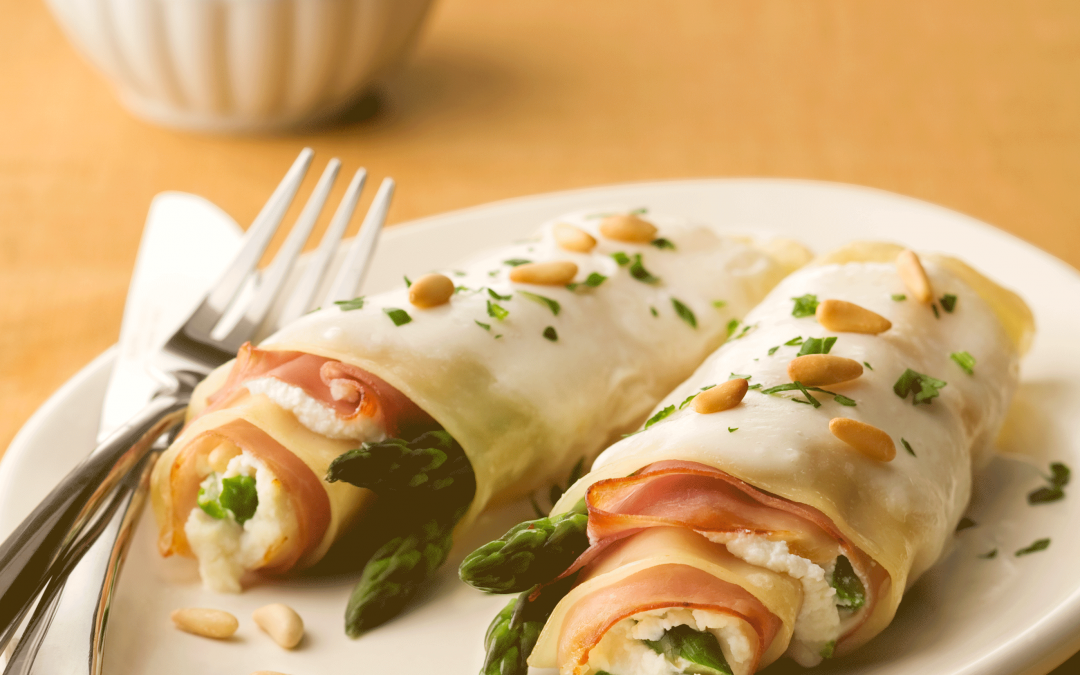 Lasagna Rolletes with Asparagus and Prosciutto