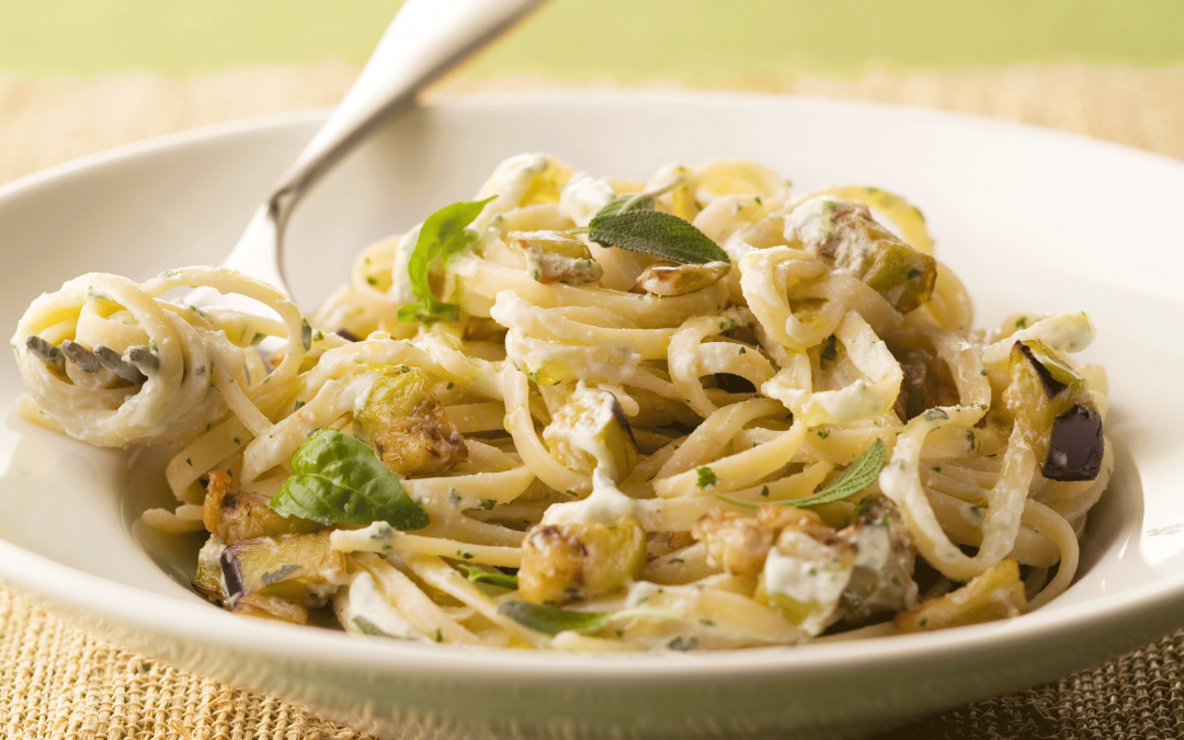 Linguine with Herbed Ricotta and Eggplant