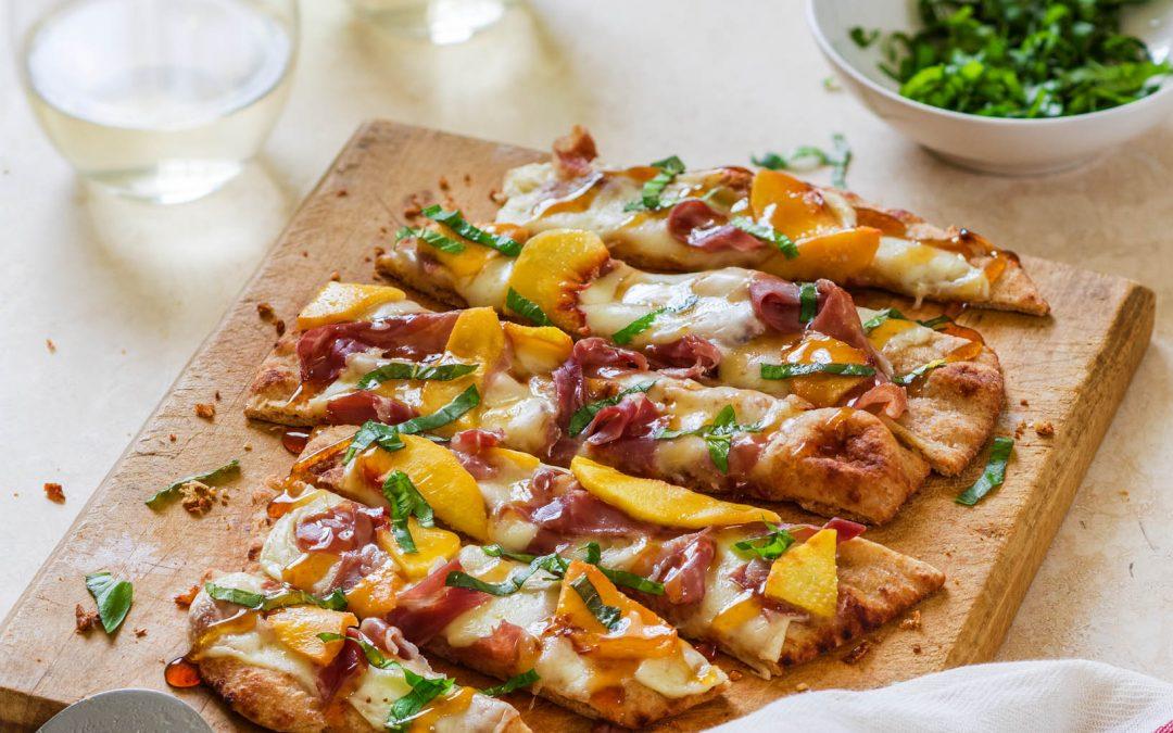 Mozzarella Peach Prosciutto Flatbread Pizza