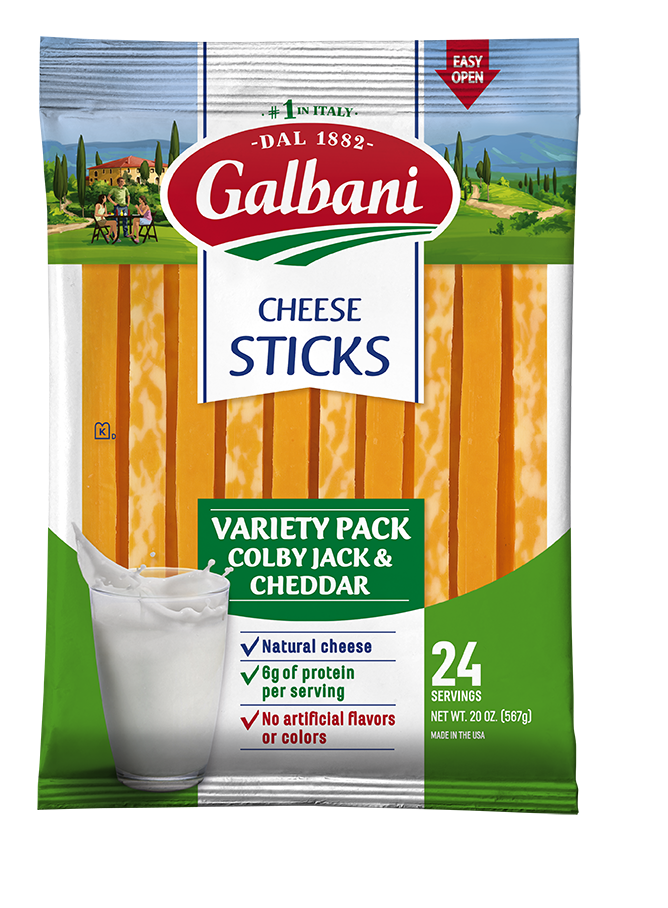 Colby Jack + Cheddar Stick Cheese Variety Pack - Galbani Cheese