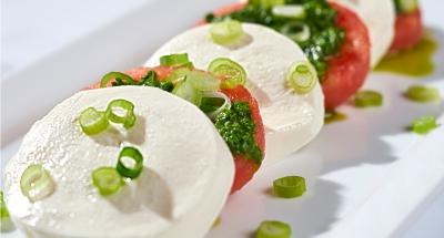 Watermelon Caprese with Lemon Arugula Pesto - Galbani Cheese