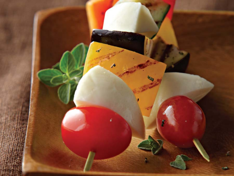 Fresh Mozzarella Skewers with Grilled Vegetables - Galbani Cheese