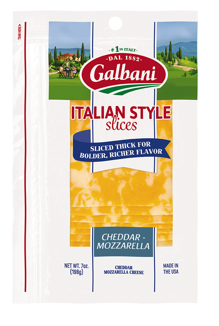 Thick Sliced Mozzarella and Cheddar Blend - Galbani Cheese