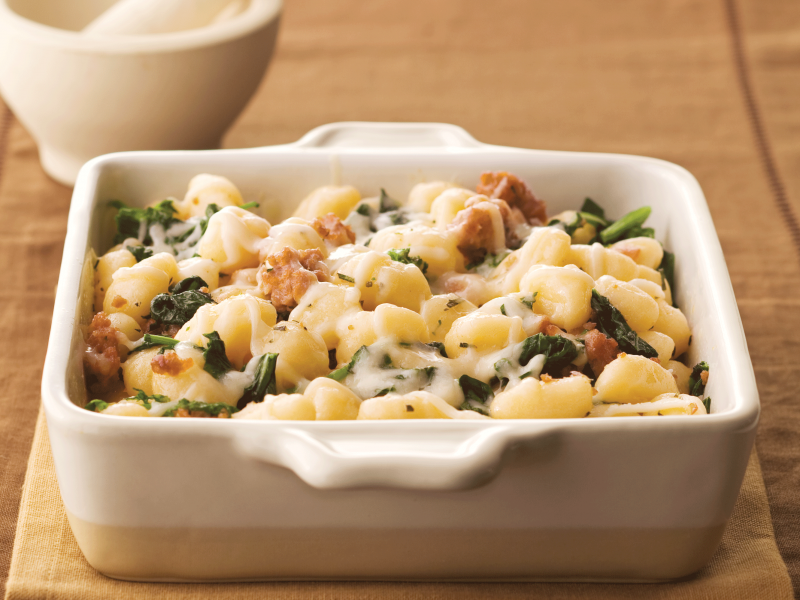 Gnocchi with Italian Sausage, Mozzarella, and Rapini - Galbani Cheese