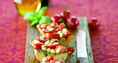 Grape Tomato, Pesto, and Mozzarella Bruschetta - Galbani Cheese