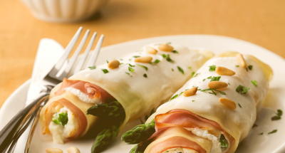 Lasagna Rolletes with Asparagus and Prosciutto - Galbani Cheese