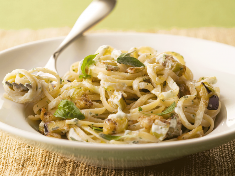 Linguine with Herbed Ricotta and Eggplant - Galbani Cheese