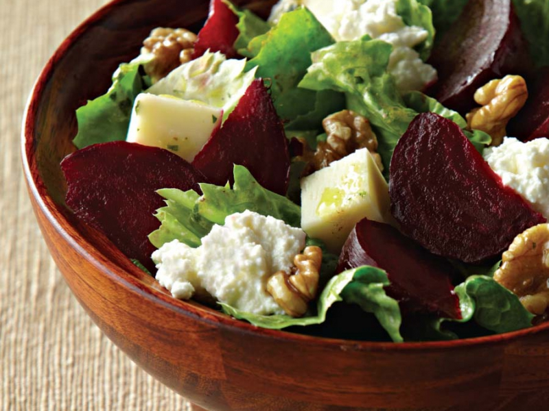Mozzarella, Beets, Walnuts, and Escarole with Ricotta Salad - Galbani Cheese