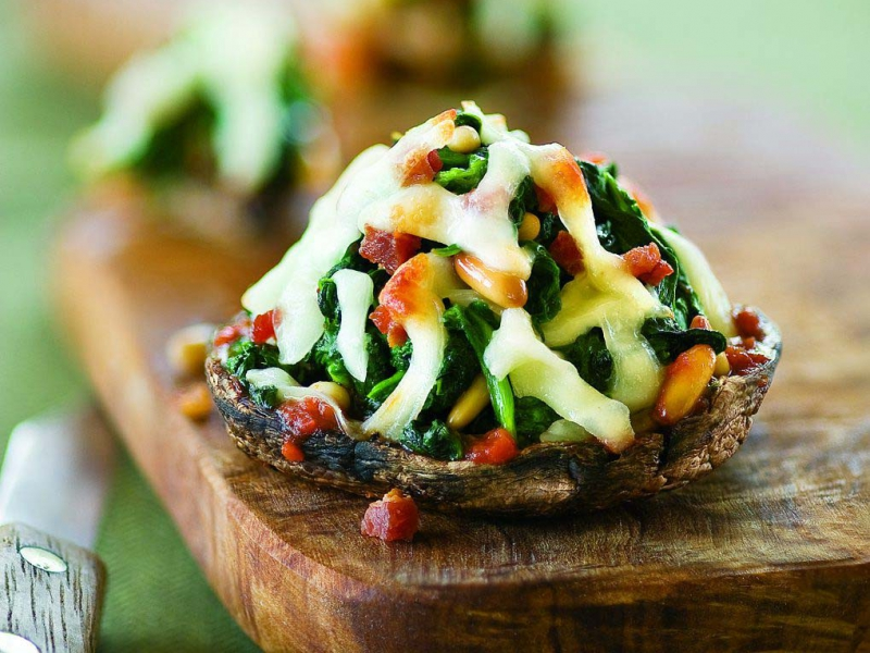 Portobello, Spinach, and Pancetta Pizzas - Galbani Cheese