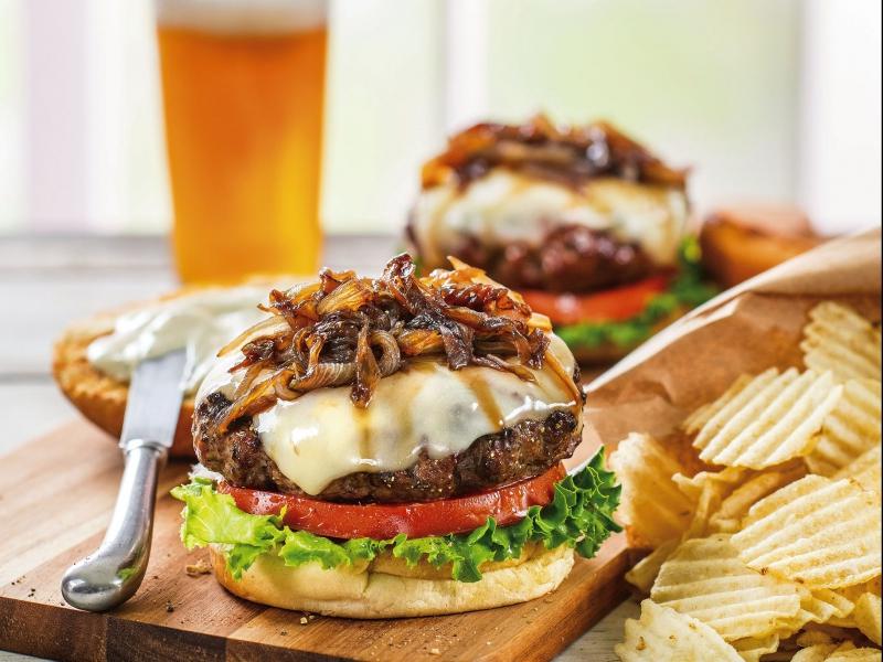 Galbani Asiago Cheeseburger with Basil Mayonnaise - Galbani Cheese