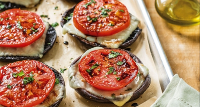 Portobello Caps with Roasted Tomato and Mozzarella - Galbani Cheese