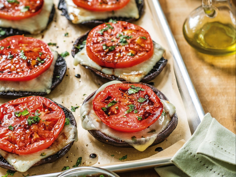 Portobello Caps With Roasted Tomato And Mozzarella Mozzarella Galbani Cheese
