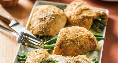 Rolled Chicken Breasts Stuffed with Galbani Asiago Sliced Cheese and Green Beans - Galbani Cheese