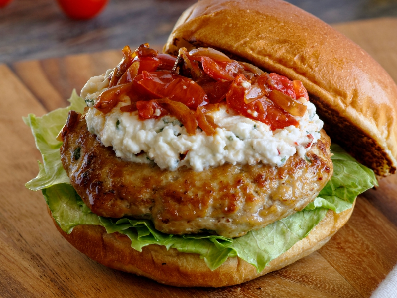 Turkey Burger with Basil Ricotta - Galbani Cheese