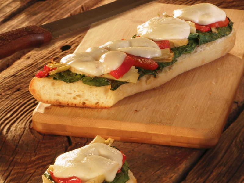 Spinach Artichoke French Bread Pizza - Galbani Cheese