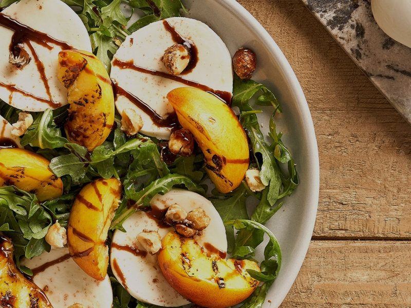 Grilled Peaches with Fresh Mozzarella & Candied Hazelnuts - Galbani Cheese
